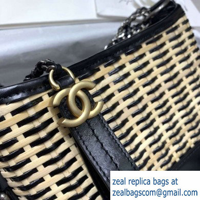 Chanel Rattan Basket Gabrielle Small Hobo Bag A91810 Black 2020