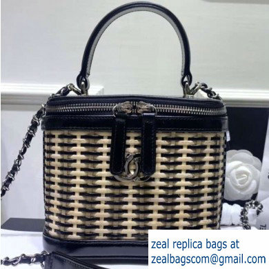 Chanel Rattan Basket Small Vanity Case Bag AS1352 Black 2020