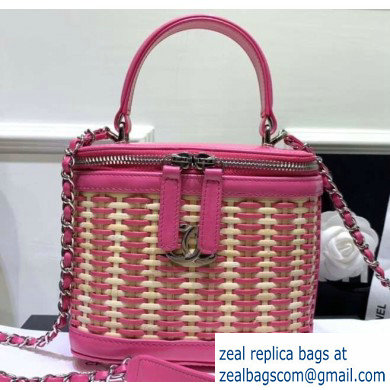 Chanel Rattan Basket Small Vanity Case Bag AS1352 Pink 2020