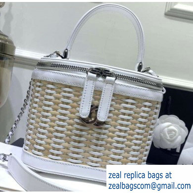 Chanel Rattan Basket Small Vanity Case Bag AS1352 White 2020