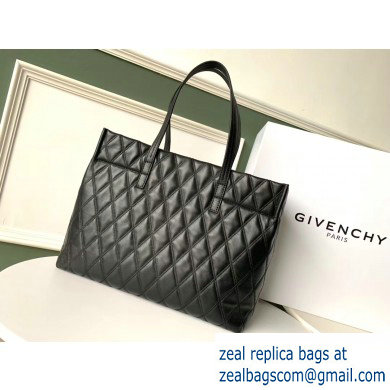 Givenchy Duo Shopper Tote Bag in Diamond Quilted Leather Black