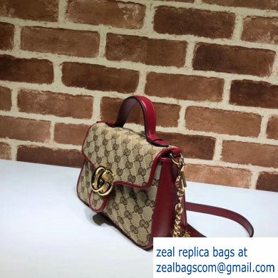 Gucci Diagonal GG Marmont Mini Top Handle Bag 583571 Canvas Red 2020