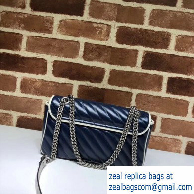 Gucci Diagonal GG Marmont Small Shoulder Bag 443497 Blue/White 2020