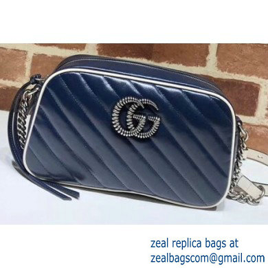 Gucci Diagonal GG Marmont Small Shoulder Camera Bag 447632 Leather Blue/White 2020