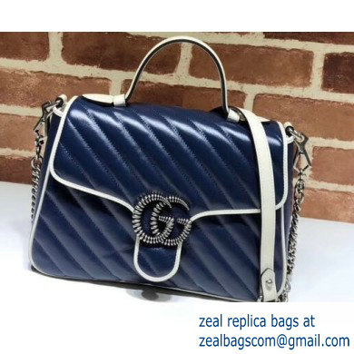 Gucci Diagonal GG Marmont Small Top Handle Bag 498110 Blue/White 2020