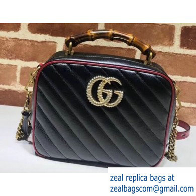 Gucci GG Marmont Small Shoulder Bag with Bamboo 602270 Black/Red 2020