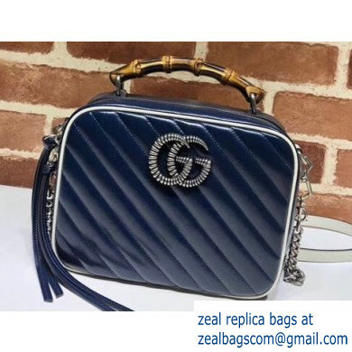 Gucci GG Marmont Small Shoulder Bag with Bamboo 602270 Blue/White 2020