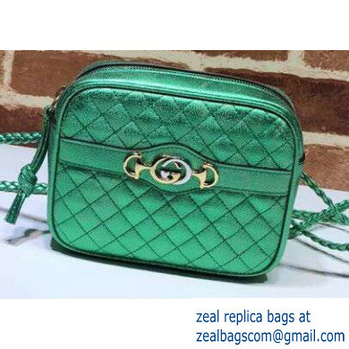 Gucci Laminated Leather Mini Shoulder Bag 534950 Green 2020