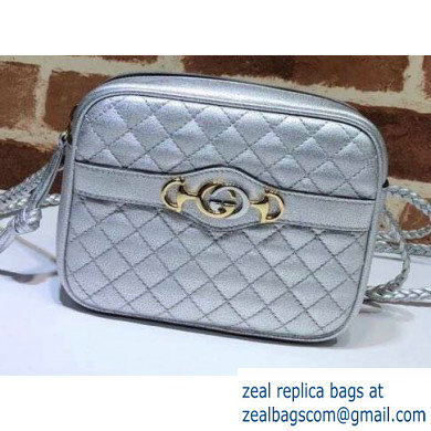 Gucci Laminated Leather Mini Shoulder Bag 534950 Silver 2020