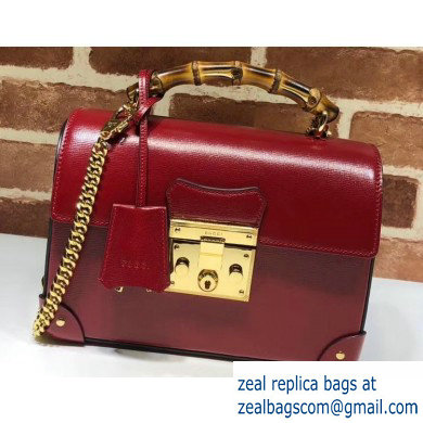 Gucci Padlock Small Bamboo Shoulder Bag 603221 Leather Red 2020
