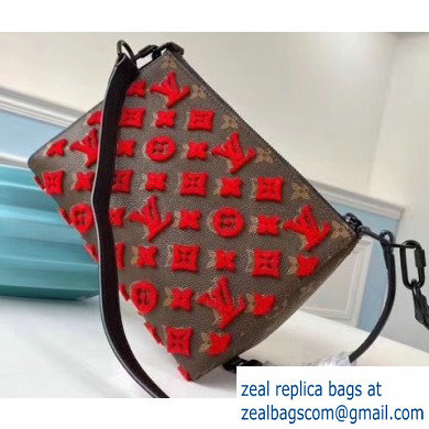 Louis Vuitton Monogram Canvas Triangle Shaped Messenger Bag M54330 Flocking Red 2020