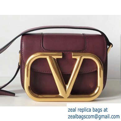 Valentino Supervee Calfskin Crossbody Small Bag Burgundy/Gold 2020