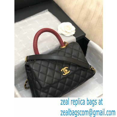 Chanel Coco Handle Small Flap Bag Black/Gold Burgundy Lizard with Top Handle A92990