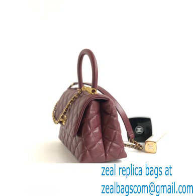 Chanel Coco Handle Small Flap Bag Burgundy with Top Handle A92990