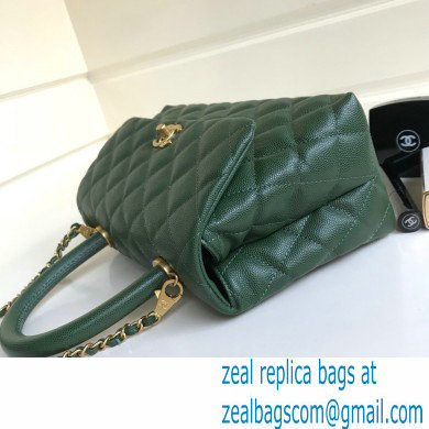 Chanel Coco Handle Small Flap Bag Dark Green with Top Handle A92990