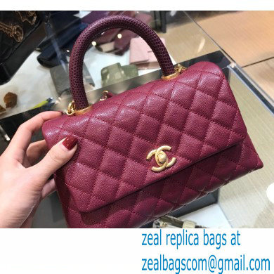 Chanel Coco Handle Small Flap Bag Date Red with Lizard Top Handle A92990 Top Quality 7147