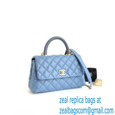 Chanel Coco Handle Small Flap Bag Denim Blue/Lizard with Top Handle A92990