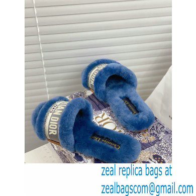 Christian Dior Shearling Fur Slides Mules Blue 2020