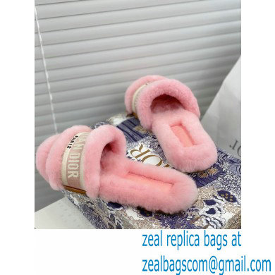 Christian Dior Shearling Fur Slides Mules Pink 2020