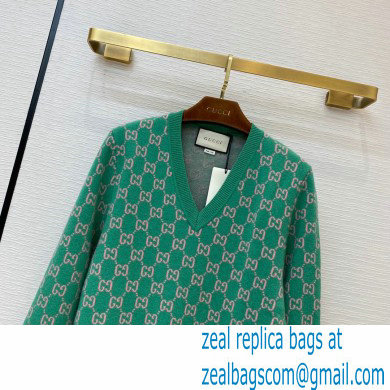 GUCCI GG knit V NECK sweater green 2020