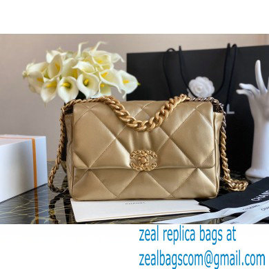 Chanel 19 Large Flap Bag AS1161 Leather Gold 2020