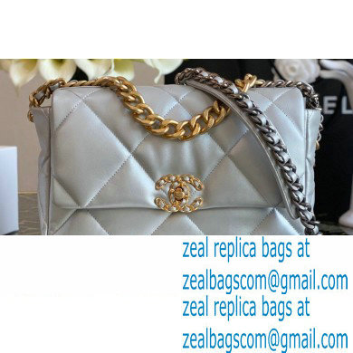 Chanel 19 Large Flap Bag AS1161 Leather Silver 2020