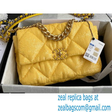 Chanel 19 Large Flap Bag AS1161 Sequins Yellow 2020