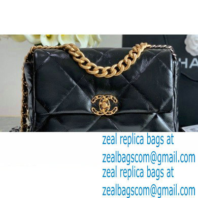 Chanel 19 Large Flap Bag AS1161 Shiny Crumpled Calfskin Black 2020