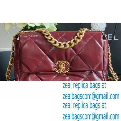 Chanel 19 Large Flap Bag AS1161 Shiny Crumpled Calfskin Burgundy 2020