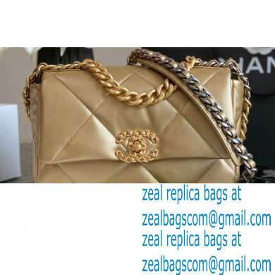 Chanel 19 Small Flap Bag AS1160 Leather Gold 2020