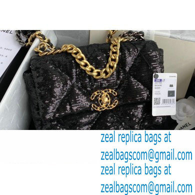 Chanel 19 Small Flap Bag AS1160 Sequins Black 2020