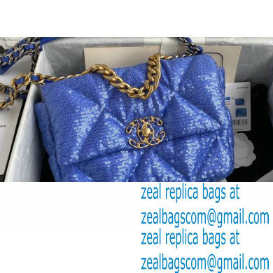 Chanel 19 Small Flap Bag AS1160 Sequins Blue 2020