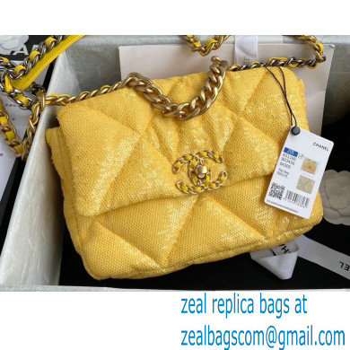 Chanel 19 Small Flap Bag AS1160 Sequins Yellow 2020