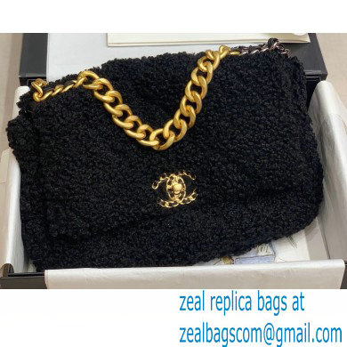 Chanel 19 Small/Large Flap Bag AS1160/AS1161 Shearling Sheepskin Black 2020