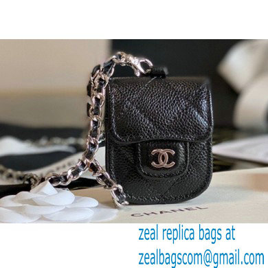 Chanel AirPods Case Vertical Grained Calfskin Black with Chain 2020