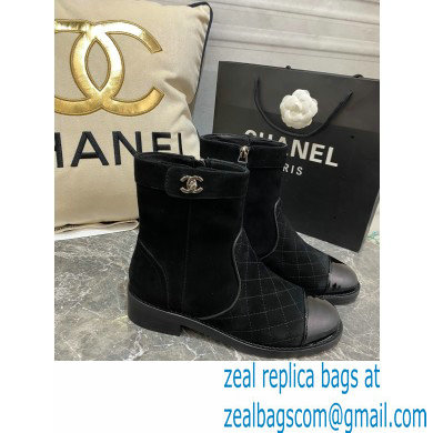 Chanel CC Logo sude Ankle Boots Black 2020