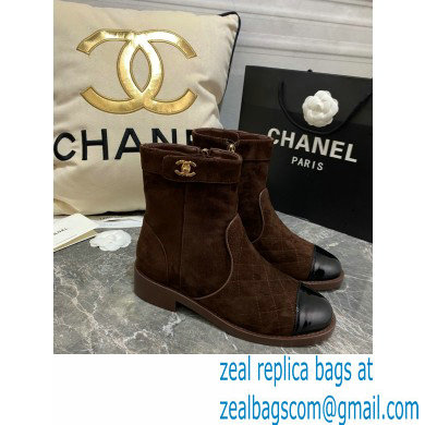 Chanel CC Logo sude Ankle Boots coffee 2020