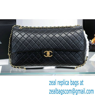 Chanel Calfskin XXL Large Classic Flap Travel Bag A91169 Black
