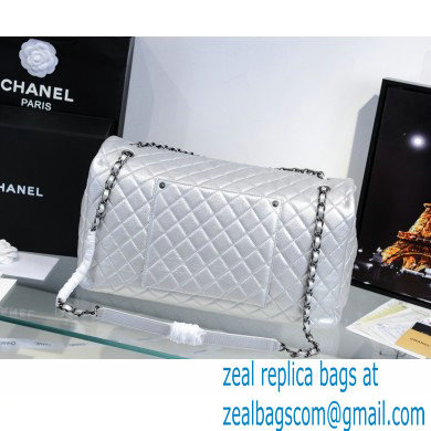 Chanel Calfskin XXL Large Classic Flap Travel Bag A91169 Silver