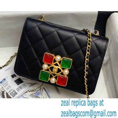 Chanel Calfskin and Crystal Pearls Flap Bag AS2259 Black/Red/Green 2020