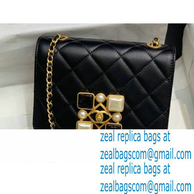 Chanel Calfskin and Crystal Pearls Flap Bag AS2259 Black/White 2020