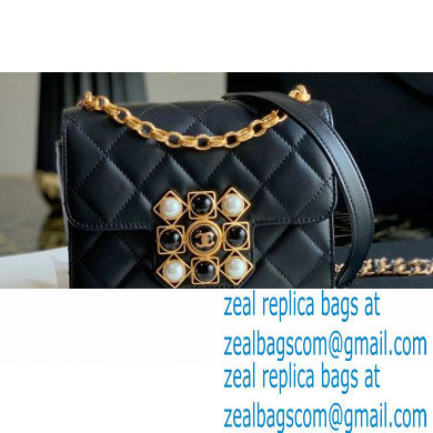 Chanel Calfskin and Crystal Pearls Mini Flap Bag AS1889 Black 2020