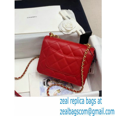 Chanel Calfskin and Crystal Pearls Mini Flap Bag AS1889 Red 2020