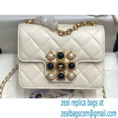 Chanel Calfskin and Crystal Pearls Mini Flap Bag AS1889 White 2020