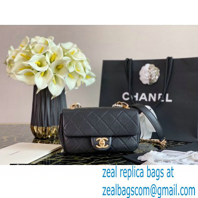 Chanel Calfskin and Crystal Pearls Mini Flap Bag AS2210 Black 2020