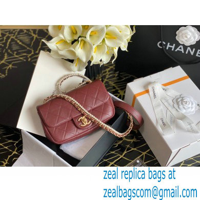 Chanel Calfskin and Crystal Pearls Mini Flap Bag AS2210 Burgundy 2020
