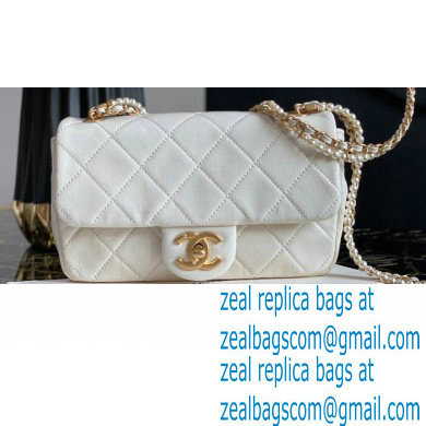 Chanel Calfskin and Crystal Pearls Mini Flap Bag AS2210 White 2020