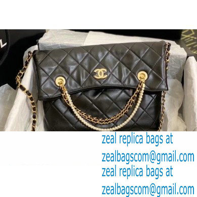 Chanel Calfskin and Crystal Pearls Shopping Bag AS2213 Black 2020