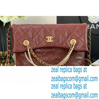 Chanel Calfskin and Crystal Pearls Shopping Bag AS2213 Burgundy 2020