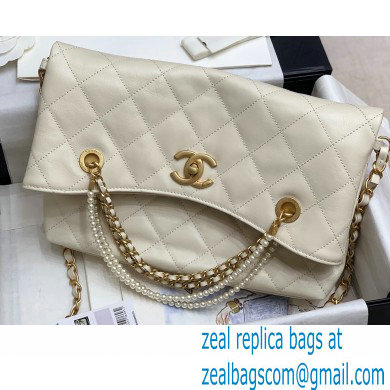 Chanel Calfskin and Crystal Pearls Shopping Bag AS2213 White 2020